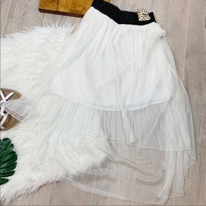 Magic White Elastic Waist High Low Skirt C1783